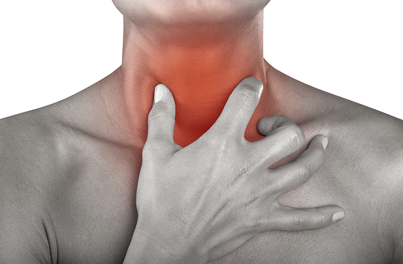 Illustration of person touching highlighted throat
