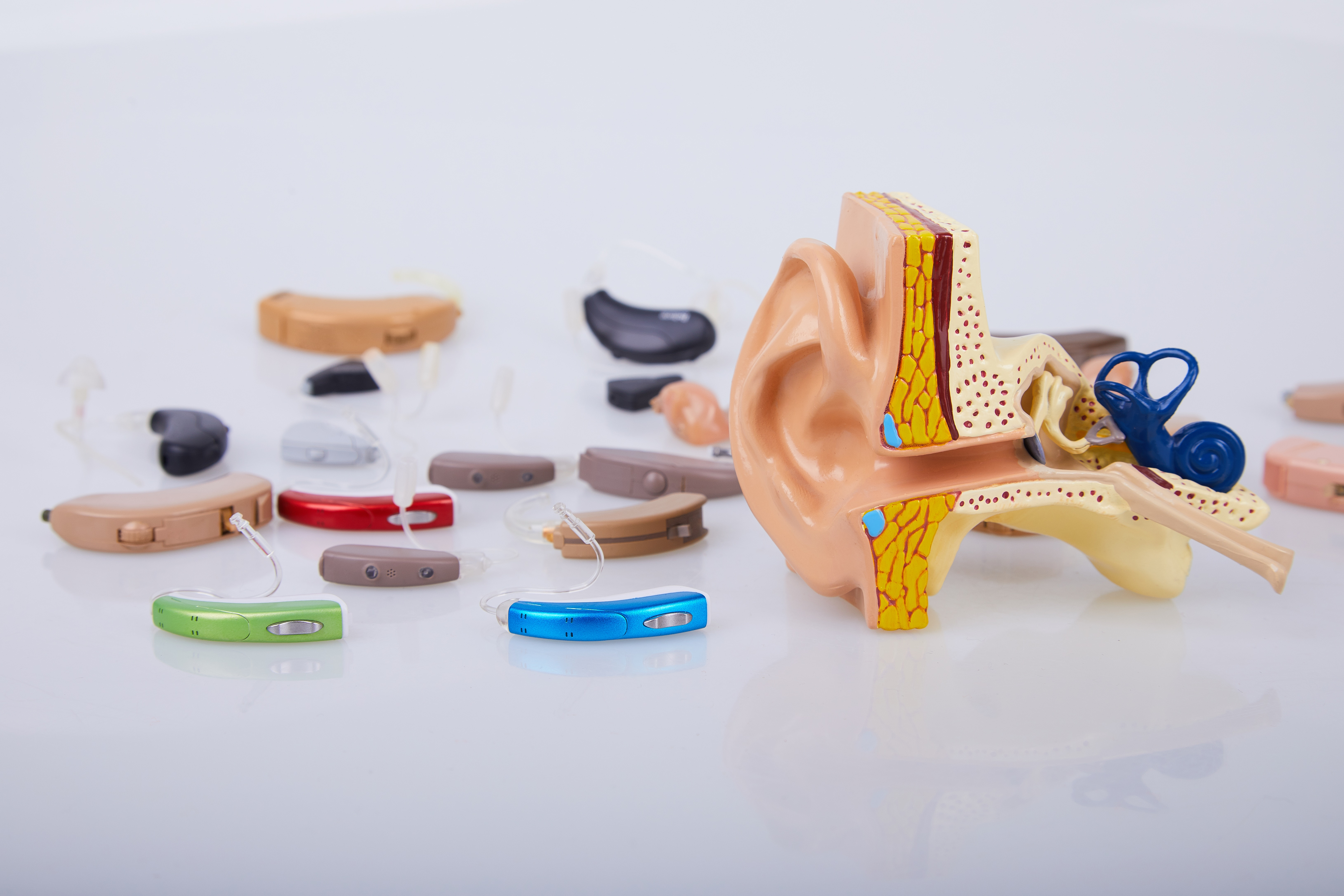 A collection of hearing aids.